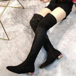 f7893e1bf Botas de invierno de mujer Tela elástica de tacón plano de cristal Botas de  invierno de gamuza negra Sobre la rodilla Cremallera lateral Botas largas
