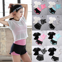 fa42794160 3pcs Summer Women Sport Wear Gymwear Cotton Fitness Crop-top Yoga Exercise  Padded Bras Mesh Tank Tops with High Waisted Shorts