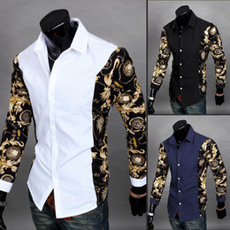 china slim shirt Promo Codes - New 2016 Black And Gold Dress Shirts Baroque Printed White Shirt Men Summer Outfits Camisas Slim Fit Chemise Cheap Clothes China