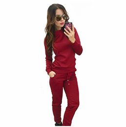 Wholesale uk pullover - NEW-Tracksuit Women Suit Sweatshirt+ long Pant female Solid Tracksuit Sportswear 2 Pieces Set Fashion(BROWN,L US~8 UK~12)