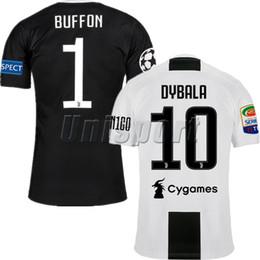 Wholesale Buffon Jerseys - 2018 19 Dybala Buffon Pjanic Higuaín Champions League Short Sleeve Soccer Jerseys 2019 Futbol Camisa Football Camisetas Shirt Kit Maillot