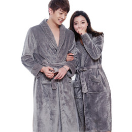Wholesale Mens Gowns - New Style Lovers Silk Soft Flannel Long Kimono Bath Robe Men Waffle Winter Bathrobe Mens Robes Dressing Gown Nightgowns for Male