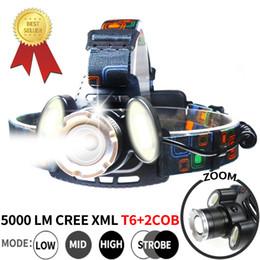 XML T6 LED 2 * COB Faro per immersione faro 18650 Ricaricabile 5000LM Zoom Testa torcia Faro impermeabile Lampada per torcia da