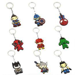 Wholesale Plush Batman - Avengers Keychain Thor Captain America Hulk The Flash Deadpool Batman Key Ring Holder Chaveiro Car Key Chain Pendant Jewelry