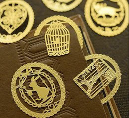 Wholesale Metal Cat Bookmark Wholesale - Cute Gold Metal Bookmark Fashion Birdcage Crown Cat Clips for Books Paper Creative Products Stationery
