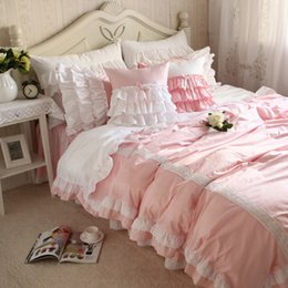 Wholesale Ruffled Comforters - New sweet lace pink bedding set patchwork ruffle duvet cover wrinkle bed sheet bedroom decoration bedding princess bedding sets