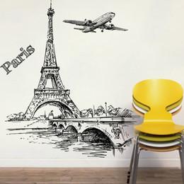 Canada Romantique Tour Paris Avion Décoratif Stickers Muraux Pour Le Salon Chambre Décorations PVC Mural Décor Mur Art DIY Affiches cheap paris stickers for walls Offre