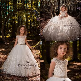 formal dresses ball gowns 2018 - New Princess Jewel Neck Girls Pageant Dresses 2018 Cap Sleeves Lace Appliques Beaded Flower Girls Dress Kids Formal Wear BA7731