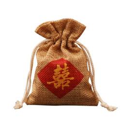 """Heiratsbeutel online-Sackleinen Favour Bag """"Double Happiness"""" Chinesische Wörter Druck Hochzeit Ehe Party Candy Geschenktüte Kostenloser Versand ZA6937"""