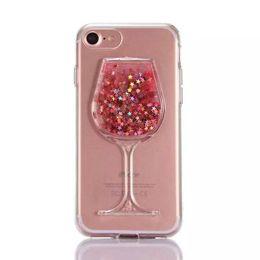 Wholesale Moda de lujo de Navidad de color rosa Vino Copa de cóctel Quicksand Liquid Glitter Bling PC D cubierta de la caja del teléfono dual para iPhone S Plus X