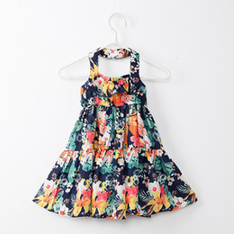 Wholesale Wholesale Dresses For Sale - 2018 Summer Baby Girls Dresses Floral Printed Sundress for Girls Beach Holiday Children Dress Kids Clothes Hot Sales