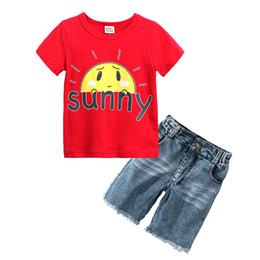 Argentina Boys Suits 2018 Nueva carta de dibujos animados Summer Boys Clothes T-shirts + Jeans Shorts Ropa para niños Set de algodón para niños Trajes supplier summer outfits jeans Suministro