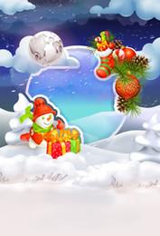 Medias de fotos online-Laeacco dibujos animados muñeco de nieve medias regalo bebé navidad fotografía fondos personalizados fotográficos telones de fondo para estudio fotográfico