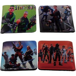 Wholesale Game Coins - 50pcs Hot Game FORTNITE Cosplay Wallet With Card Holder Coin Pocket Men's Short Purse Cartoon Figure Toys Action Toys for Kids Gift