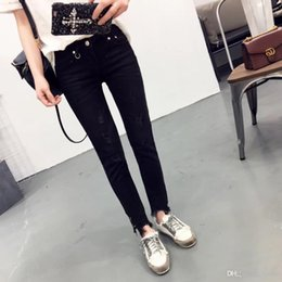 2cb82d7300d Wholesale- 2017 Spring Fashion Women Jeans Ripped Metal Ring Decoration  Vintage Denim Pencil Pants Casual Low waist Full Length Trousers