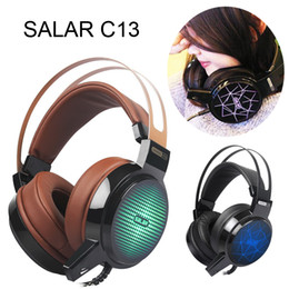 Wholesale Best Microphone Headset - Salar C13 Gaming Headset Deep Bass Game Headphone Best Casque Gamer Earphone with Microphone LED Light Headphones for Computer PC