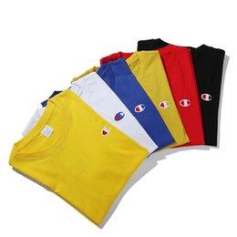 Wholesale embroidered shirts women - New Fashion Brand Men's Embroidered T-shirt 6 Colors Men Women Fashion Crew Neck T-shirt Sizes S-2XL