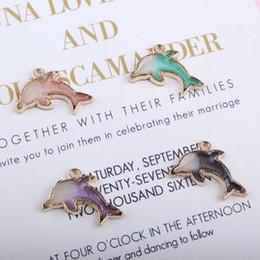 120 pz / lotto oro tono smalto Delfino pendente di fascino 14 * 22mm buono per fare gioielli artigianali fai da te da