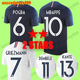 Wholesale two star - Thailand quality 2 two stars Maillot de foot GRIEZMANN POGBA MBAPPE Soccer jersey 2018 world cup MARTIAL KANTE DEMBELE GIROUD football shirt