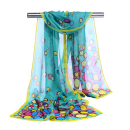 Wholesale scarves packaging - hijab Colorful Bubble Print scarves female shawls super silk chiffon korean decorative fabric air conditioning package belts