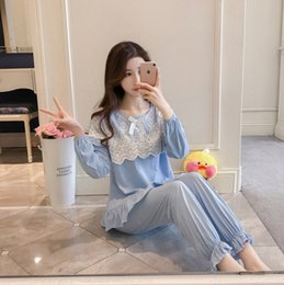 5797a33357 New princess lace home gown with long sleeve ladies  knitted cotton fringe  suit pajamas for women sleepwear nightgown robe set sexy robes