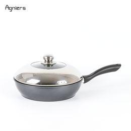 Стальные жаровни онлайн-Черный антипригарным 11 дюймов Stir Fry Pan глубокой сковороде посуда с крышкой из нержавеющей стали плита инструменты для приготовления пищи кухонные принадлежности