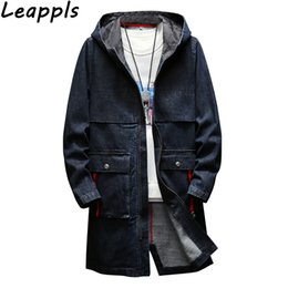 8e52fa52835 leappls Plus size 4XL Autumn Winter New denim jacket Outerwear Hooded Men Trench  fashion 64% cotton long mens coat jeans Trench