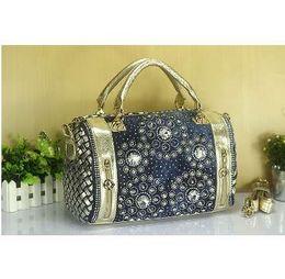 quasten-eimer tasche blau Rabatt KISS KAREN Luxus Vintage-Mode Strass Denim Handtaschen Frauen Umhängetaschen Casual Totes Frauen Tasche Edle Jeans Boston Taschen