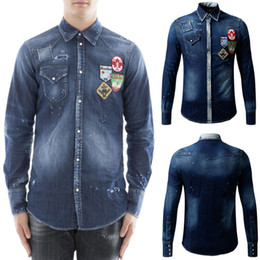 cool paintings Promo Codes - Many Embrodiery Patchworks Denim Shirt Cool Guy Distressed Painted Longsleeves Jeans Cotton Shirts Man