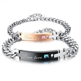 Wholesale Romantic Coupling - 1pair Romantic European Style Charm Titanium Steel Bracelet Her Beast Her Beauty & Her King His Queen Couple Bracelet & Bangle For Women Men