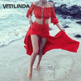Argentina Venta al por mayor- VESTLINDA Vestido de playa de chifón rojo Sexy fuera del hombro Crop Top Recto Botón Slit Maxi Vestido Traje Vestidos Vestido de vendaje de verano cheap chiffon slit off shoulder red dress Suministro