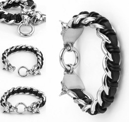 Wholesale Mens Wolf Jewelry - Mens Stainless Steel Bracelet Dual Wolf Head Genuine Leather Braided Curb Chain Bracelet For Biker Jewelry Support FBA Drop Shipping G831R