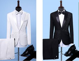 Wholesale Show White Costume - wedding dress groom suits Male Formal musical performance costume Bar Party Host show stage wear Crystals slim Blazers