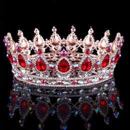 Wholesale gold tiara red rhinestones - New Design 2018 Rhinestone Bridal Head Pieces Crystal Wedding Party Headbands Tiaras Crowns Prom Evening Hair Accessories