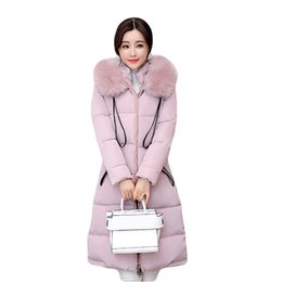 Wholesale Winter Jacket Fur Wadded - 2018 New Winter Jacket Women Long Slim Large Fur Collar Hooded Down Cotton Parkas Thick Female Wadded Coat Plus Size 4XL CM1373