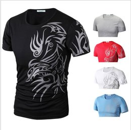 Wholesale Tattoo Printed Shirts - Men Tee Tattoos Printed Short Sleeve Crew Neck Tee T-Shirt Slim Fit Tops Printing Casual Tops KKA4229