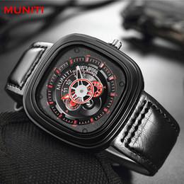Wholesale Watch Punk - Men Punk style square dial Male Watches Fashion Luxury brands Quartz Watch MUNITI Reloj hombre Business Casual Sport Wristwatch
