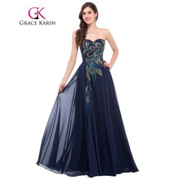 fb92cfc5dc1c Grace Karin senza spalline Peacock Evening Dress Long Chiffon Ricamo abiti  da sera formale Robe De Soiree Wedding Prom Dress 2018 C18111601 vestito da  karin ...