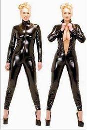 Sıcak Seksi Siyah Catwomen Tulum PVC Spandex Lateks Catsuit Kostümleri Kadınlar için Vücut Suits Fetiş Deri Elbise Artı Boyutu XS-5XL cheap xs latex costume nereden xs lateks kostüm tedarikçiler