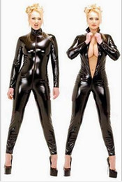 curativo spandex catsuit Desconto Hot Sexy Catwomen Mulheres Macacão PVC Spandex Latex Catsuit Trajes para As Mulheres Ternos Do Corpo Fetiche Vestido De Couro Plus Size XS-5XL