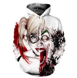 Sudadera joker online-Nueva Moda Harley Quinn Joker Sudadera con capucha Hombres Mujeres de manga larga Prendas de abrigo Pullovers 3D Hoodies SML0039