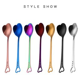Wholesale roses multi colored - Hot Selling Wedding Heart Spoons, Glossy Gold Rose Gold Heart Spoons, Colored Stainless Steel Heart Coffee Spoons