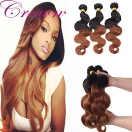 Wholesale Colored Extensions Wholesale - Crochet Hair Extensions Colored Brazilian Hair Weave Hair Bundles Grade 8A Ombre 1B 30 2018 Free Shipping