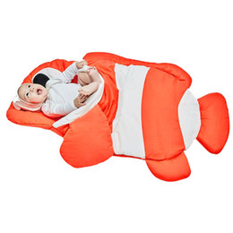 Wholesale baby bedding fishing - Autumn and Winter Infant Baby Anti-kick Cartoon Fish Print Shape Print Sleeping Bag Bedding