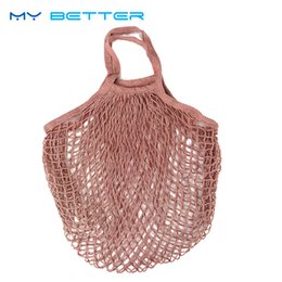 Wholesale Red Shopper - 1PC Reusable String Fruit Shopping Bag Supermarket Grocery Bag Shopper Tote Mesh Net Woven Cotton Hand Totes