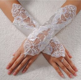 Wholesale Rhinestone Fingerless Gloves - High Quality Bride Bridal Sexy Black White Lace Fingerless Gloves Floral Rhinestone Wedding Party Long Gloves Accessories
