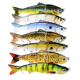 Wholesale hard body fishing lures - Realistic Fish 4 Jointed Musky Fishing Lure 17g 12cm Wobbler Swimming Vivid Body artificial Bait bass Crankbaits