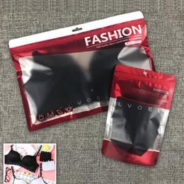2019 sacs en plastique d'emballage de détail noir 50 ensembles de mode en plastique fermeture à glissière sous-vêtements de vente au détail sac d'emballage, blanc noir sous-vêtements de soutien-gorge shorts sac de rangement avec trou de suspension sacs en plastique d'emballage de détail noir pas cher