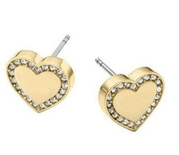 Wholesale Fine Numbers - New York Fashion Brand Tone Love heart Stud Earrings High Quality Crystal Silver Rose Gold colors fine jewelry For Women girls Free Shipping
