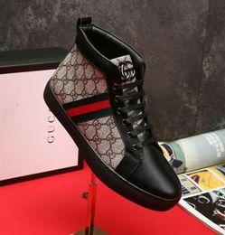 chaussures de baskets à la mode Promotion Top Qualité Hommes Haut Haut Baskets Marque De Luxe Designer Sport Chaussures Trainer À La Mode Veau En Cuir Canvas Patchwork Classique Casual Chaussures